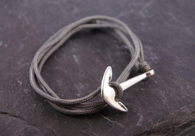 Wickelarmbänder - ♥ Wickelarmband grau Anker silber - ein Designerstück von zuckerputzig bei DaWanda