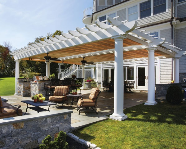 ShadeFX Partnered With Walpole Outdoors To Protect This Outdoor Living Area  With Motorized Canopies, Accommodating Overhead Fans Installed To Keep Cool.