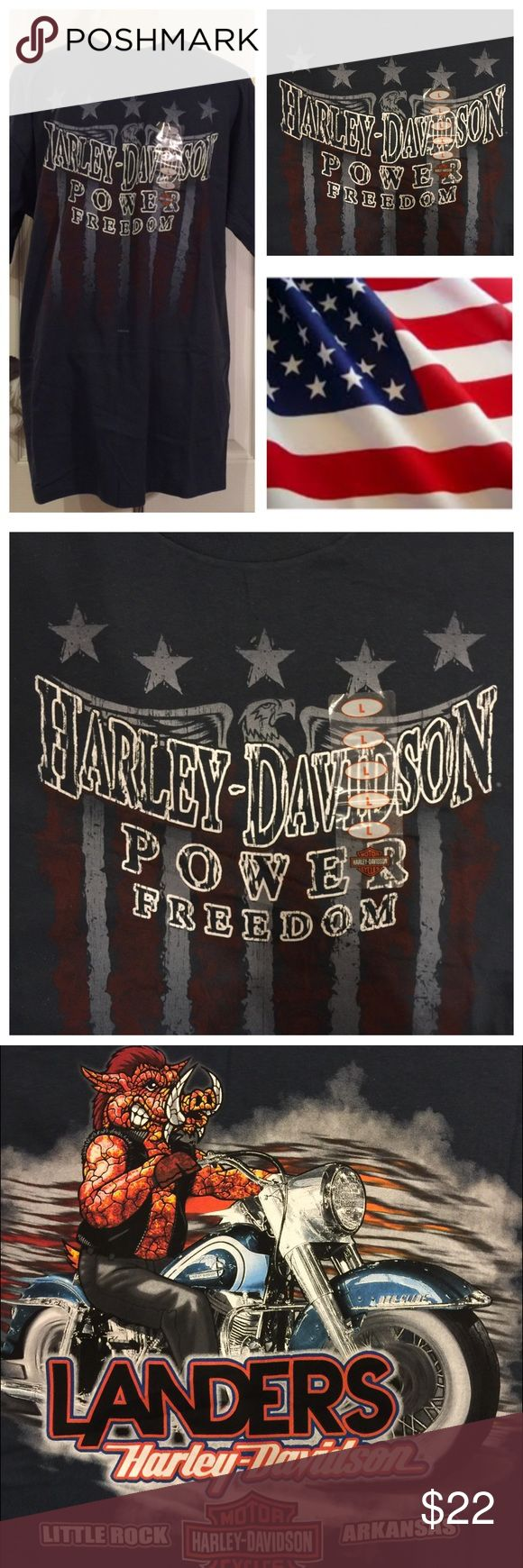 NWT Harley Davidson Blue Short Sleeve T Shirt This NWT Harley Davidson T-Shirt is made of 100% Cotton. Patriotic type Harley Davidson Logo Design on the front. Fantastic Dealership Logo on the back. Use the Bundle Option for an Amazing Discount. Harley-Davidson Shirts Tees - Short Sleeve