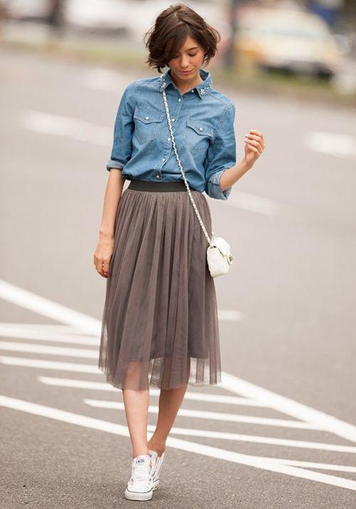 チュールスカートと♡ 人気おすすめトレンド モテ『デニムシャツ』レディースアイデア一覧