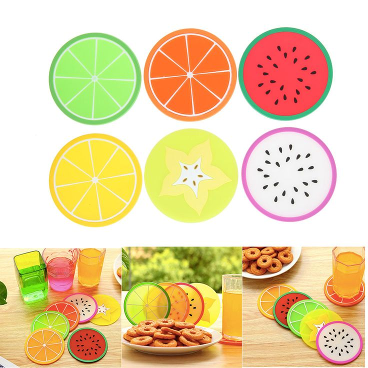 6Pcs/lot Fruit Shape Colorful Jelly Color Fruit Shape Coasters Creative Skid Insulation Silica Gel Cup Mat