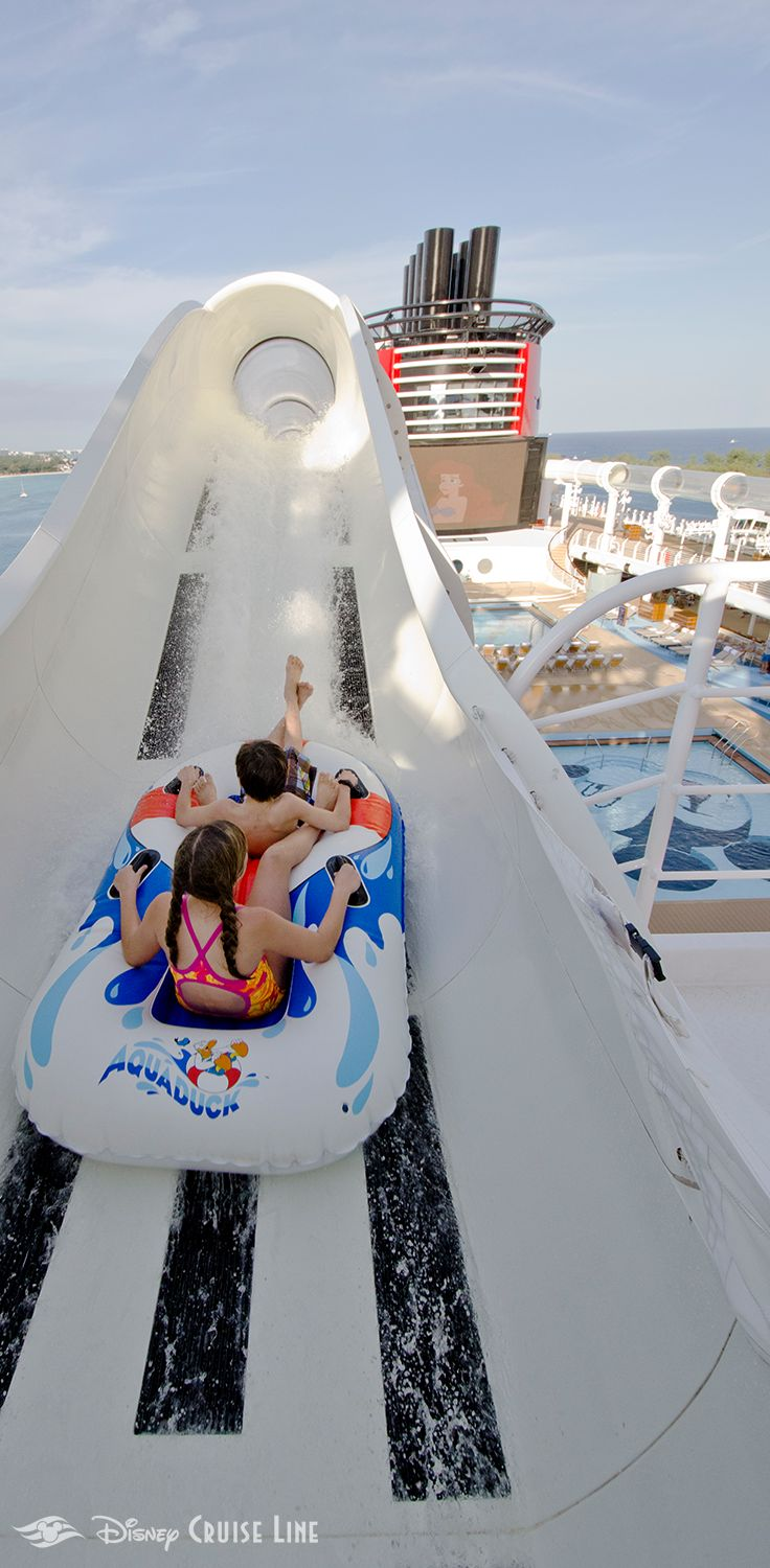 AquaDuck is a thrilling transparent tube water coaster located at Deck 12, Aft aboard the Disney Dream and the Disney Fantasy that propels Guests on an exciting journey off the side of the ship, through the Forward Funnel and down 4 decks into a lazy river.