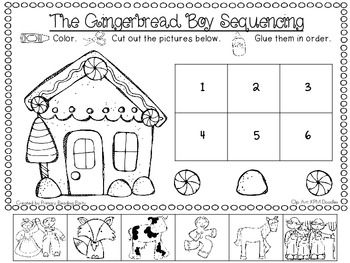 "This freebie goes along with ""The Gingerbread Boy"". It's a cut and paste printable that will be a nice supplement to the book. Repinned by www.preschoolspeechie.com"