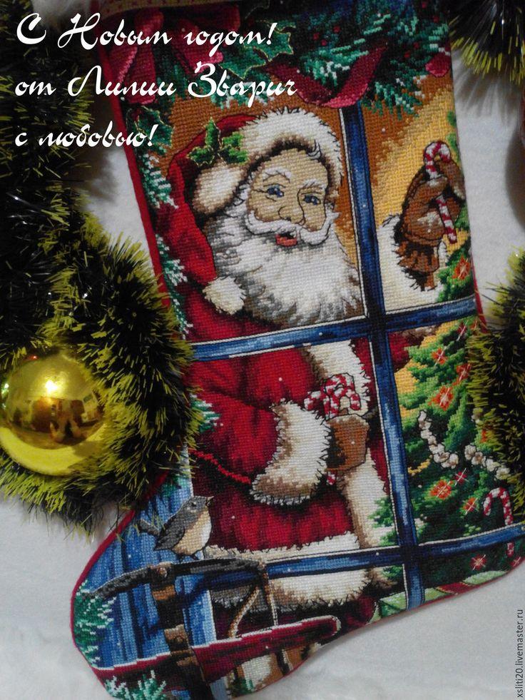 """Купить Новогодний (Рождественский) сапожок """"Санта и леденец"""" - новогодний сувенир, новый год 2016, Новый Год"""
