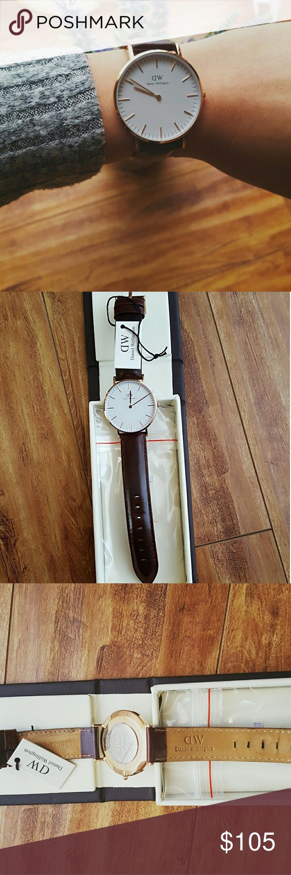 Daniel Wellington ST MAWES 40mm Watch, Like New Elegant and fashion classic Daniel Wellington St Mawes features rose gold case and a brown leather band. It is a classic big face watch. Recently bought this beauty and only wore once.  Then I got a trivia watch.  With a flawlessly round and simple dial, a classy leather band and an elegant casing, you have a timepiece that proves that perfection. It is authentic. Comes with original box and tag. Daniel Wellington Accessories Watches