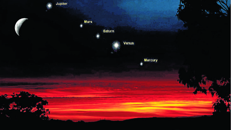 Artist's impression of how the planets will align this month