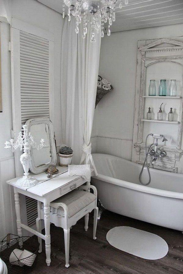 Romantic Whitewashed Shabby Chic Bathroom More