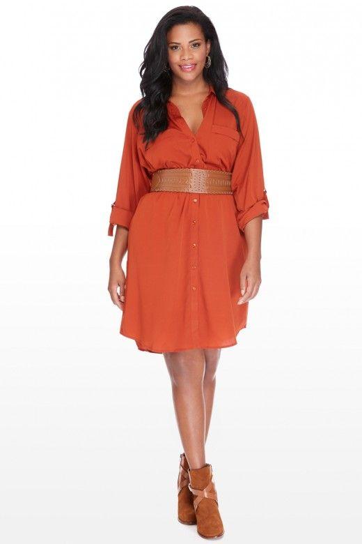 Red plus size shirt dress