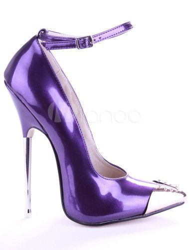 Purple Patent Leather Ankle Strap Rhinestone Women's  High Heels