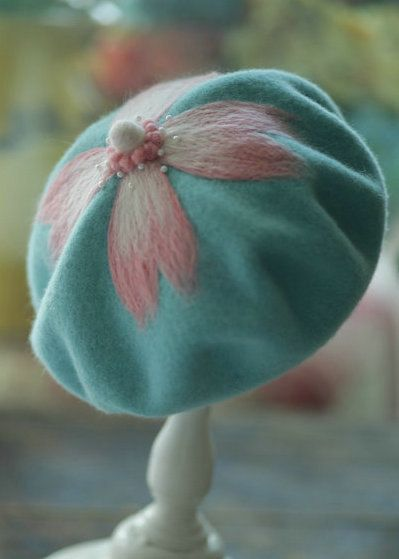 Women's Handmade Needle Felt French Beret, Art Hat, Teal Colored Hat with Pink Cherry Blossom Petals Felted, Sweet, Cute, Vintage Style