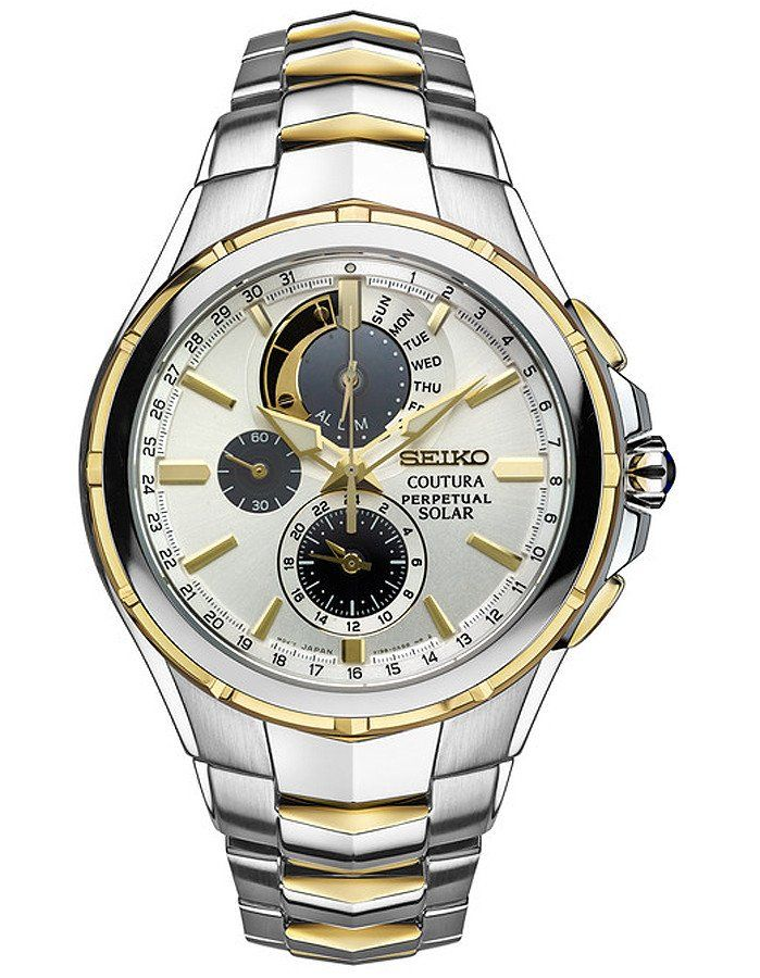 Step into the future with this stunning watch from the Seiko Coutura collection. Featuring a striking two-tone design with a solar powered movement so you will
