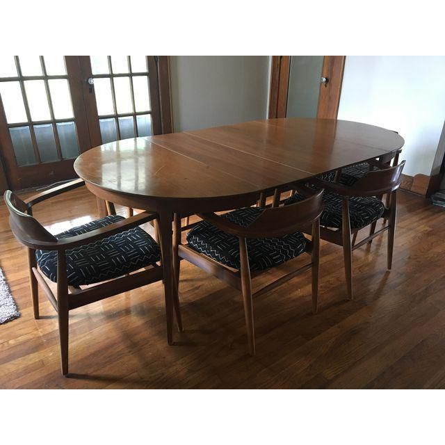 1960s Mid Century Modern Dining Table And Chairs Set 7 Pieces