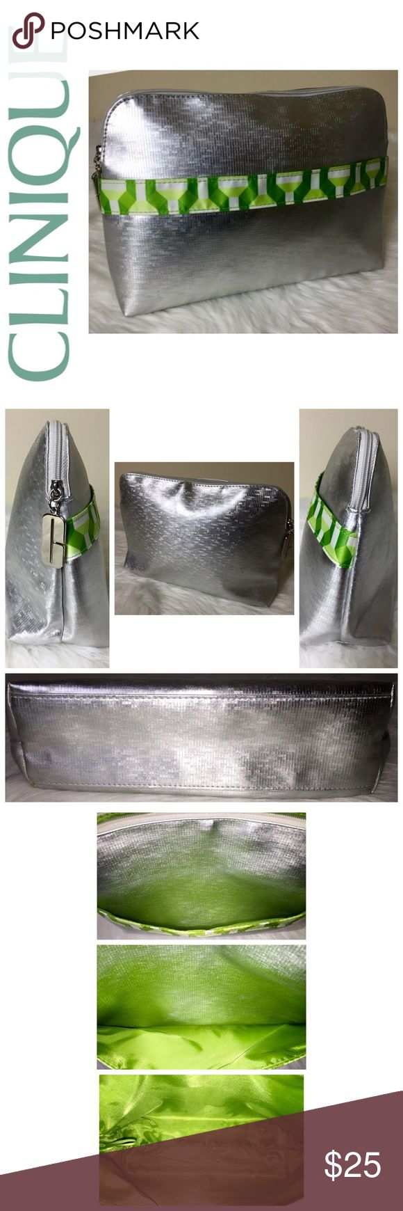 """Clinique Signature Travel Cosmetic Bag Clinique Signature Travel Cosmetic Bag, Metallic Silver with Green Color Combo Trim """"C"""" Logo Zipper Pull for Zip Top Closure, Fully Lined, Front Exterior Slip Compartment, Approx. Size is: 10""""x 7 1/4""""x 2 3/4"""", NWOT! Clinique Bags Cosmetic Bags & Cases"""