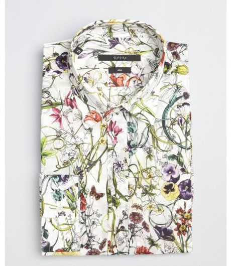 Gucci Multicolor White Floral Print Cotton Point Collar Dress Shirt
