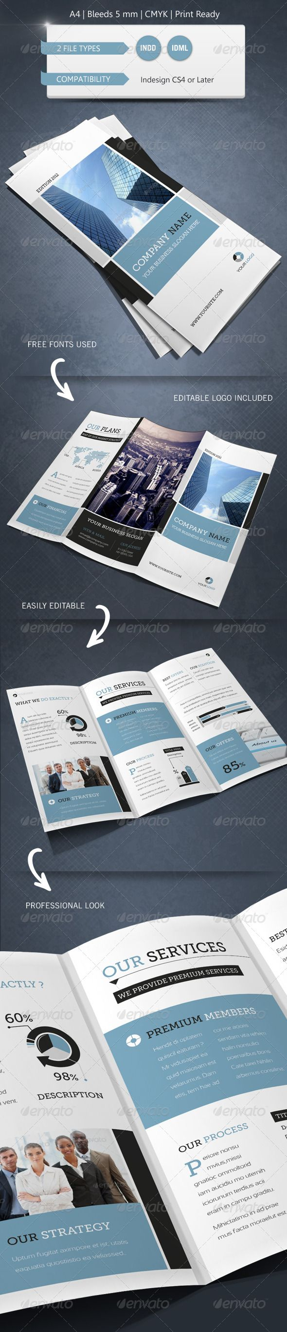 Modern & Corporate Trifold Brochure Template - Brochures Print Templates