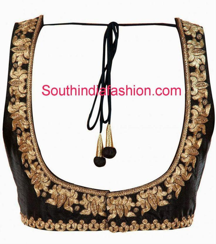 Beautiful Black Blouse with Zari Work ~ Celebrity Sarees, Designer Sarees, Bridal Sarees, Latest Blouse Designs 2014