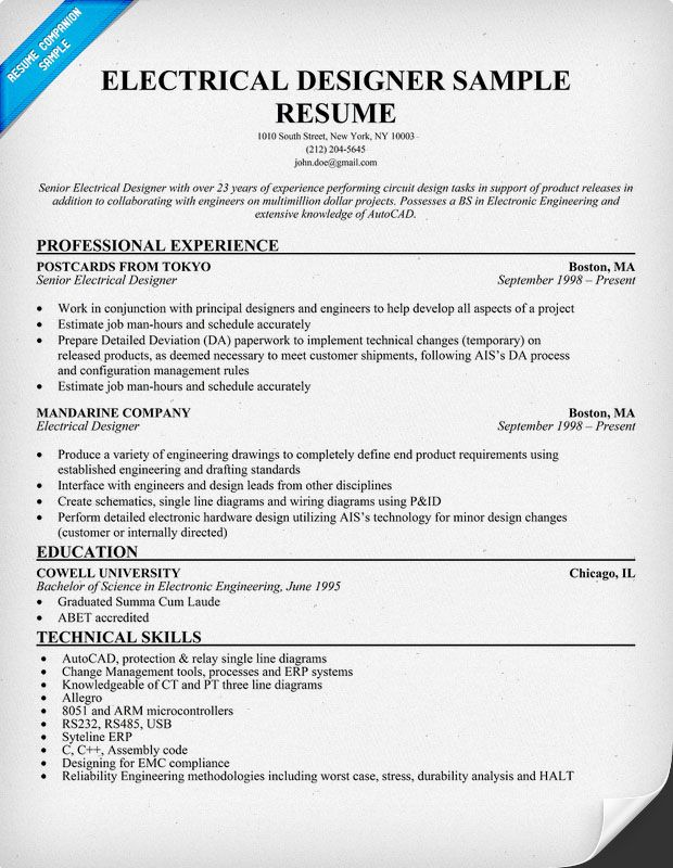 Electrical #Designer Resume Sample (resumecompanion) Resume - electrical technician resume