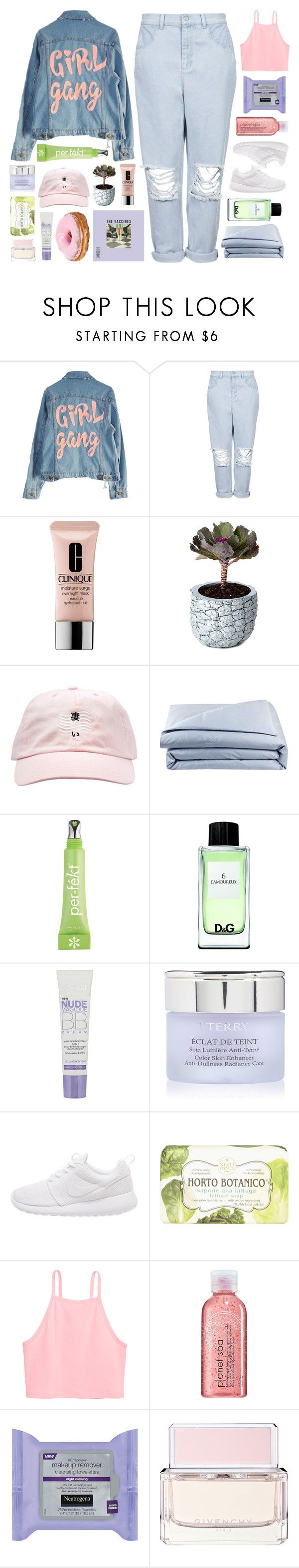 """Untitled #2580"" by tacoxcat ❤ liked on Polyvore featuring High Heels Suicide, Boutique, Clinique, Chen Chen & Kai Williams, Frette, Per-fékt Beauty, D&G, L'Oréal Paris, By Terry and NIKE"
