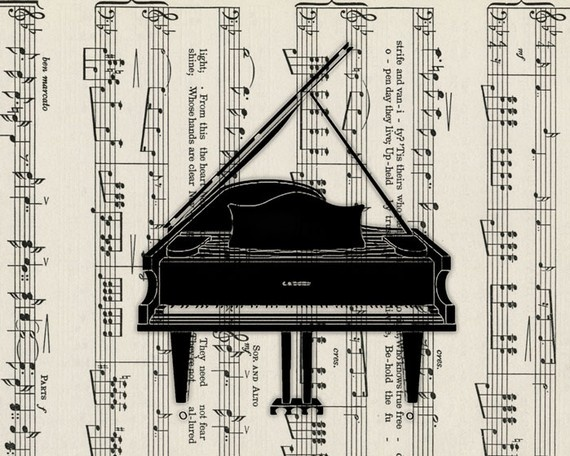 music sheet with piano: Music Decor, Grand Pianos, Art With Sheet Music, Music Papers, Piano Music, Music Paino, Music Books, Cifras Gutar Piano, Music Sheet