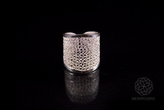 Woven silver filigree modern wide ring.