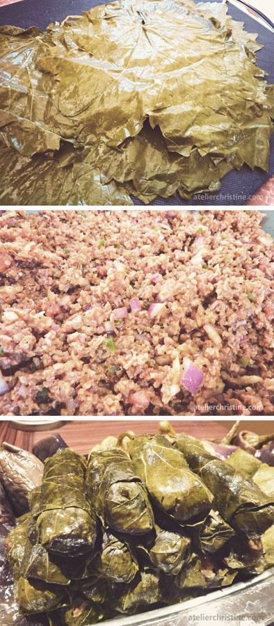 Braised Stuffed Grape Leaves (Bulgur Sarma), step-by-step #recipe #wholegrain ; armenian + middle eastern food