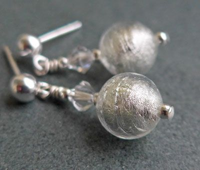 Crystal Murano glass earrings handmade by Firefrost. Shown here in Crystal but available in lots of colours