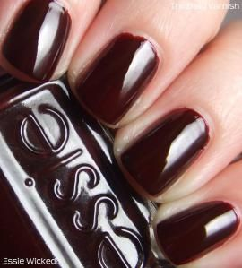 Essie - Wicked / TheDailyVarnish - just bought this. It reminds of this dark-red-almost-black nail polish I wore constantly in college.