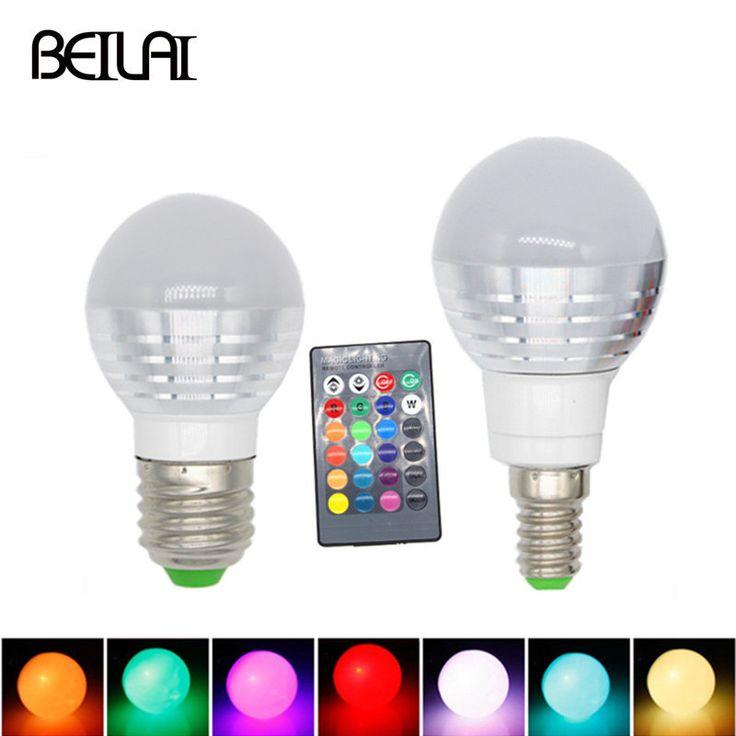 3W RGB Lampada LED Bulb E27 85-265V RGB LED Lamp E27 220V 110V Spotlight Lamparas LED Light Bulb E14 Spot Luz Christmas Lampadas #Affiliate