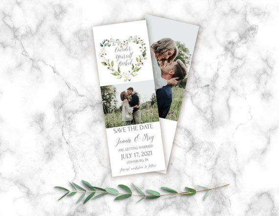 Heart Wreath Save The Date Bookmark Template Save Date Etsy Save The Date Templates Save The Date Save The Date Cards