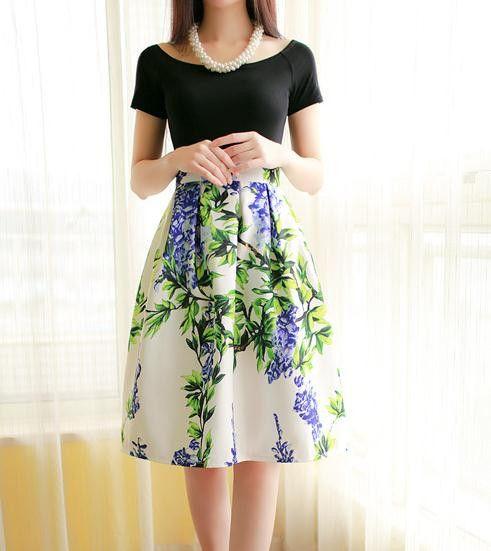 Ladies Skirt Summer 2015 American Apparel Floral Print Painting High Waist A…