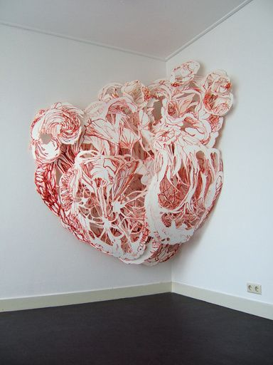 Joris Kuipers organic paper color pastel relief wall installation sculpture web fungal growth