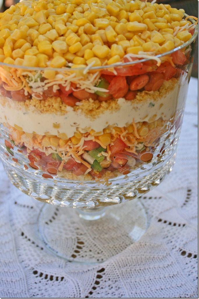 cornbread saladCornbread Salad, Corn Breads Salad, Pink Rose, Jiffy Cornbread Recipe, Layered Salad With Ranch, Beans Salad Dresses, The Ranch Cornbread, Art Cornbread, Pan Layered Salad