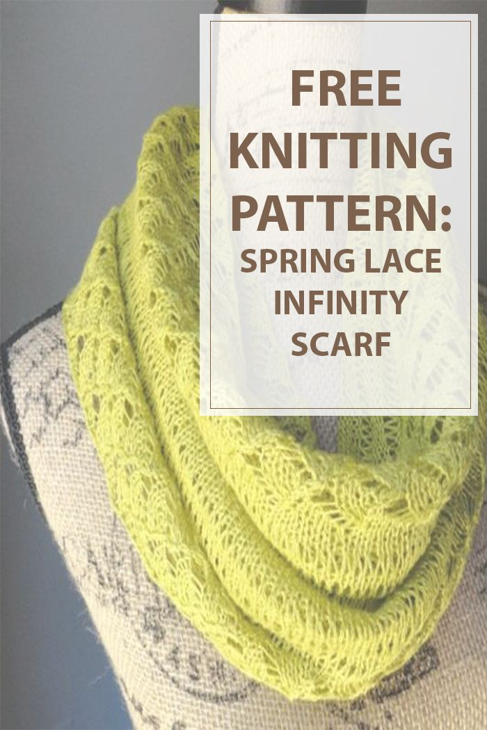 Knit your ideal accesory for the cold winter days and spring days with this free knitting pattern for Spring Lace eternity Scarf. Its warm , breathable and chartreuse-colored with pretty lace choice for heat weather accessorizing. #knitting #knit #hobbies | Housewiveshobbies.com