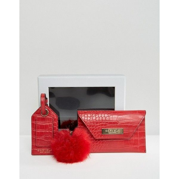 Carvela Mock Croc Envelope Coin Purse With Luggage Tag And Pom Pom Key... ($37) ❤ liked on Polyvore featuring bags, wallets, red, fold-over crossbody bags, red coin purse, foldable bag, pom pom key rings and croc bags