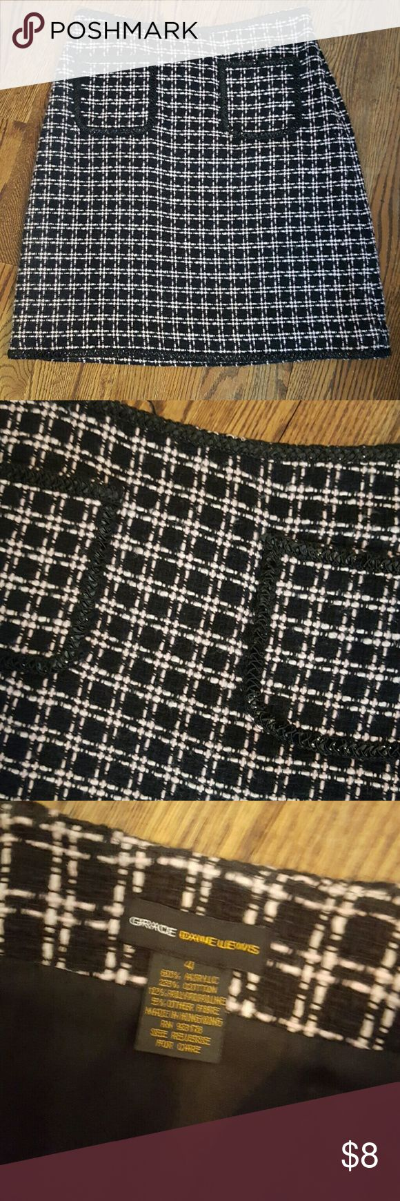 Wool like knit mini skirt acrylic and nylon, lined. reminds me of classic Chanel. Has black sequins on hem, waist, and 2 pockets on front. Super Cute! Priced to SELL! grace dane lewis Skirts Mini