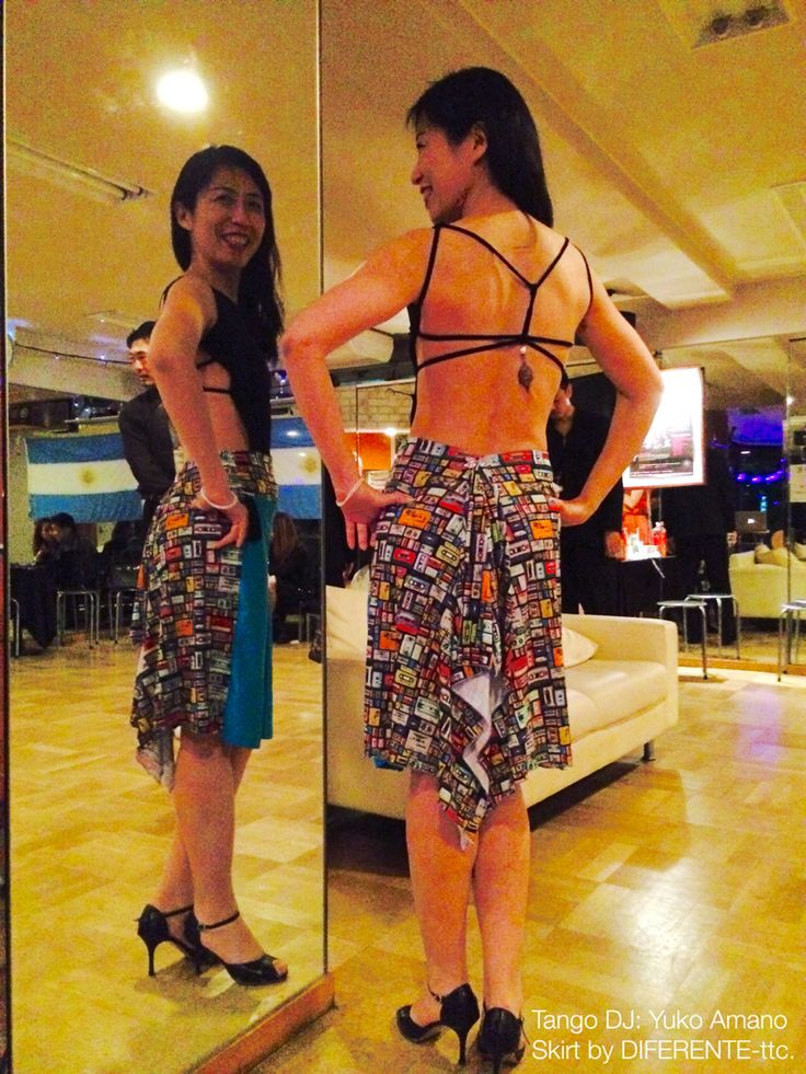 Tango DJ: Yuko Amano. Skirt of cassette tape pattern for her. Skirt by DIFERENTE-tokyo tango clothes.