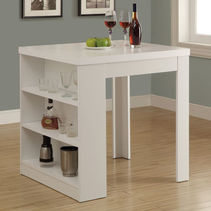 Have to have it. Monarch White Square Counter Height Table with Shelf Storage - $161.37 @hayneedle