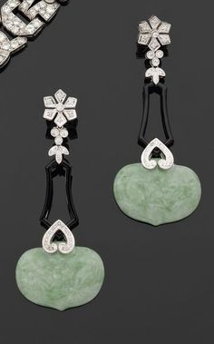 Carved jadeite, diamond and onyx earrings