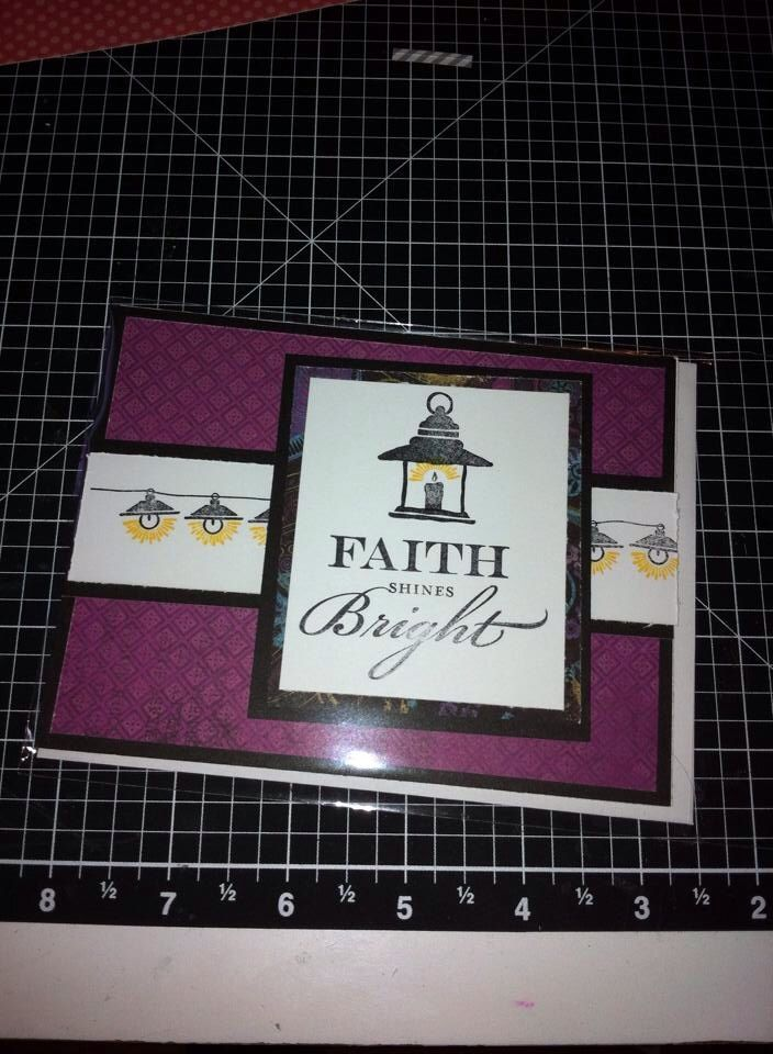 """I really love this one.  Using CTMH's November 2013 Stamp of the Month """"Illuminate"""" and the Laughing Lola Paper Packet.  Plus the Black Exclusive Inks Stamp Pad and the Honey Exclusive Inks Stamp Pad."""
