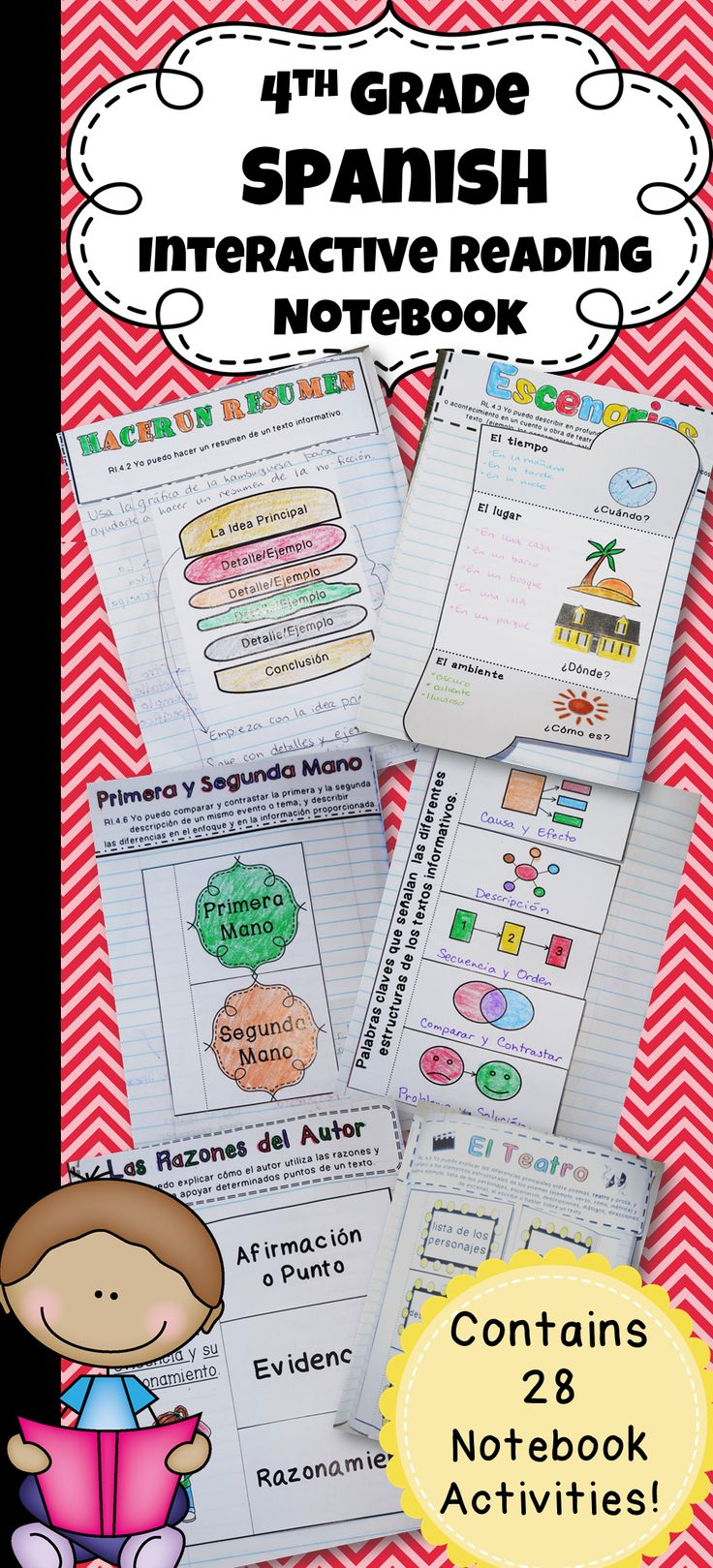 4th Grade Spanish Interactive Reading Notebook aligned with the Common Core standards for literature and informative text.