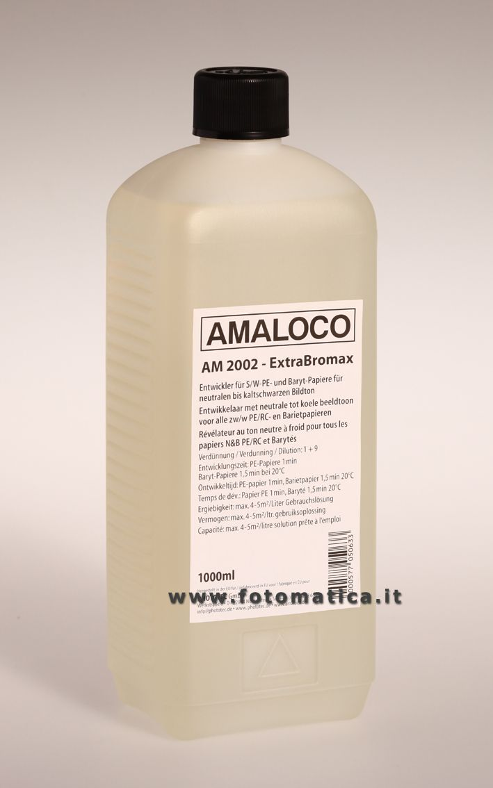 AMALOCO - AM 2002 -Rivelatore universale a tono neutro per carte baritate e politenate. Diluizione 1+9  http://www.fotomatica.it/contents/it/d138_chimici_amaloco.html