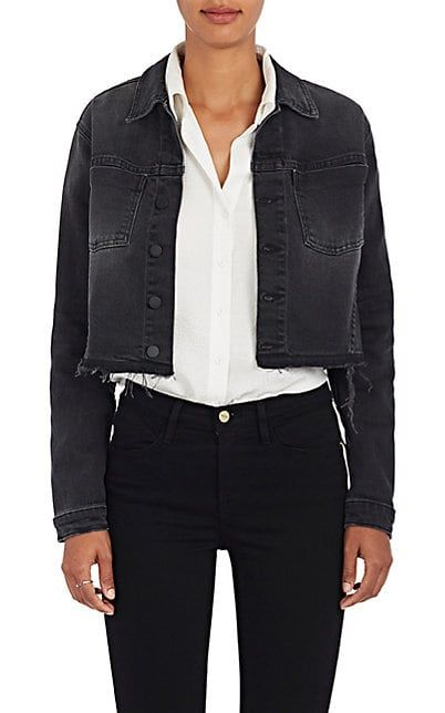 L Agence Zuma Lace Up Denim Crop Jacket Jackets 505315018 Denim Jacket Embellished Denim Jacket Jackets