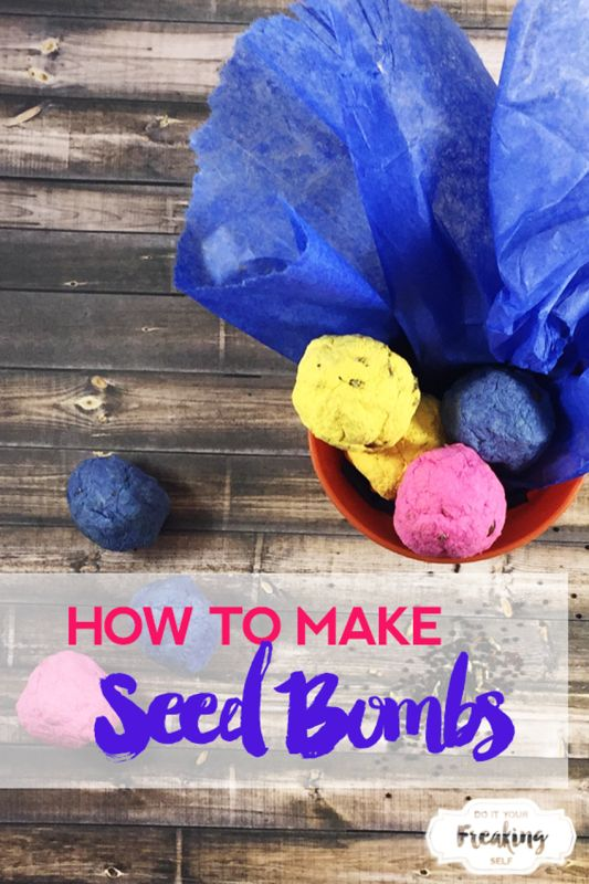 Make your own seed bombs with 3 ingredients. Tissue paper, seeds and water. So cute! Great crafts for Earth Day!