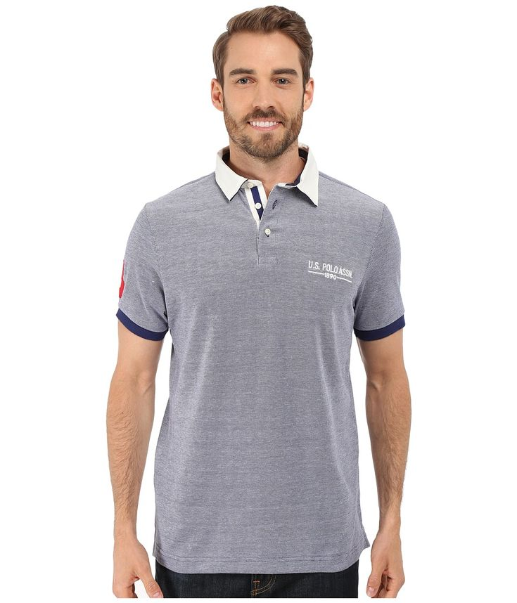 U.S. POLO ASSN. Solid Pique Polo Shirt Contrast Collar