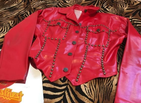 80s Roncelli Style Studded Wet Look Pleather Vinyl Jacket Button Up Faux Red Leather Jacket Rivetted Red Ja Leather Jacket Red And Black Flannel Jacket Buttons