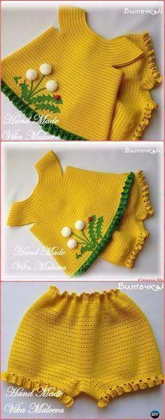 Crochet Button Up Dandelion Tunic Sweater Top Free Pattern - Crochet Kids Sweater Tops Free Patterns