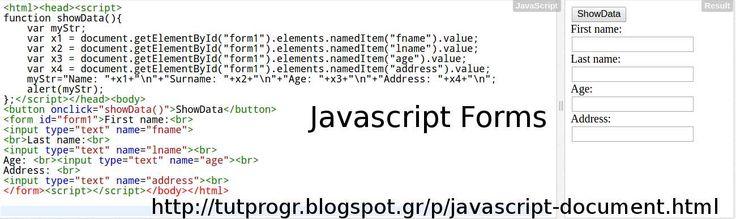 javascript document forms programming code picture httptutprogrblogspotgrpjavascript documenthtml javascript pinterest programming