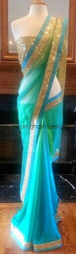 light blue saree with a gold sequin border great for a desi bridesmaids #saree