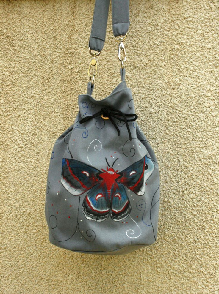 Vegan hand painted gray moth cotton shoulder bag by AtelierGOBI on Etsy