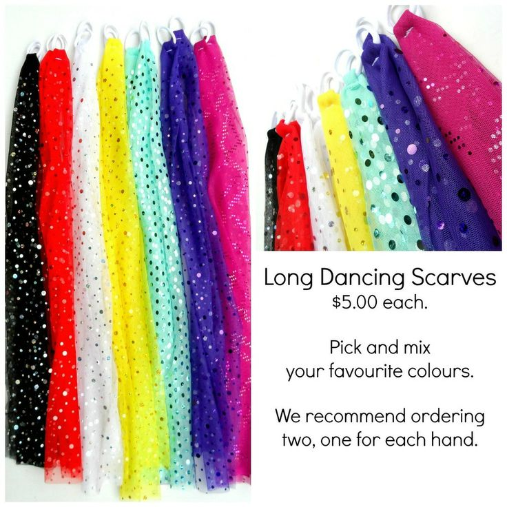 LONG DANCING SCARVES $5.00 Awesome colours together with a splash of sparkles make these fantastic dancing scarves a sure favourite with all...
